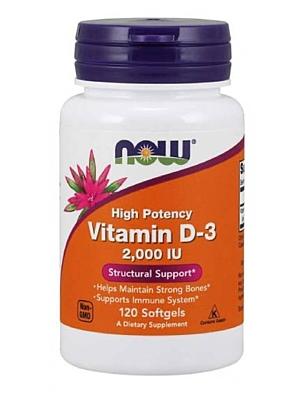 NOW Foods Vitamín D3 2000 IU 120 kapslí