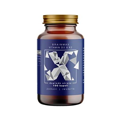 BrainMax Vitamín D3 & K2 - D3 5000 IU, K2 150 mcg 100 kapslí