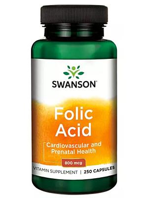 Swanson Folic Acid (Kyselina listová) 800 mcg 250 kapslí