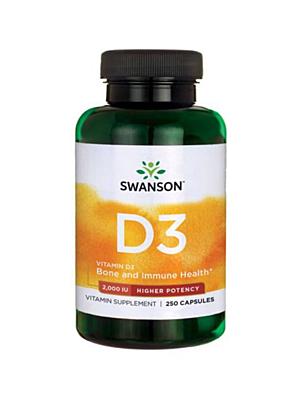 Swanson Vitamín D3 2000 IU s vyšší účinností 250 kapslí